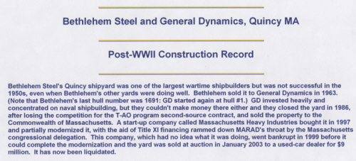 Bethlehem Steel and General Dynamics, Quincy MA (Post-WWII Construction Record)