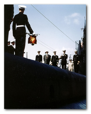 Mr. Lawrence Y. Spear at commissioning ceremony for USS DACE (SS-247)