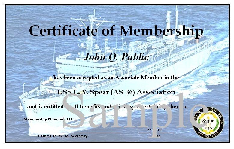 membership certificate examples